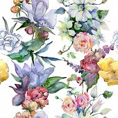Tender Bouquet Flowers. Seamless Background Pattern. Fabric Wallpaper Print Texture. Aquarelle Wildf poster