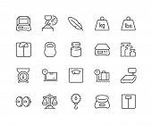 Simple Set Of Weight Related Vector Line Icons. Contains Such Icons As Scales, Feather, Balance And  poster