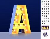 Letter A From Alphabet. Glowing Letter A. Bulb Type A. 3d Illuminated Light Bulb Symbol Letter A. Re poster