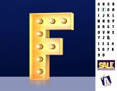 Letter F From Alphabet. Glowing Letter F. Bulb Type F. 3d Illuminated Light Bulb Symbol Letter F. Re poster