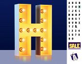 Letter H From Alphabet. Glowing Letter H. Bulb Type H. 3d Illuminated Light Bulb Symbol Letter H. Re poster