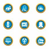 Household Appliance Icons Set. Flat Set Of 9 Household Appliance Vector Icons For Web Isolated On Wh poster