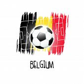 Hand Written Word belgium With Soccer Ball, Soccer Field And Abstract Colors Of The Belgian Flag.  poster