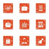 Thrifty Economy Icons Set. Grunge Set Of 9 Thrifty Economy Vector Icons For Web Isolated On White Ba poster