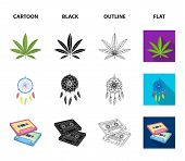 Amulet, Hippie Girl, Freedom Sign, Old Cassette.hippy Set Collection Icons In Cartoon, Black, Outlin poster