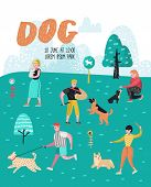 People Training Dogs In The Park. Dog Poster, Banner. Characters Walking Outside With Pets. Vector I poster