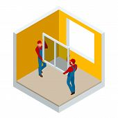 Isometric Installation Of Windows In The House Or Apartment Concept. Two Workers In Blue Work Clothe poster