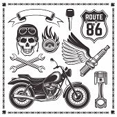 Set Of Motorcycle And Attributes Of Bikers Vector Design Elements In Monochrome Style Isolated On Wh poster