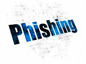 Security Concept: Pixelated Blue Text Phishing On Digital Background poster