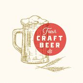 Fresh Craft Beer Abstract Vector Sign, Symbol Or Logo Template. Hand Drawn Retro Beer Mug, Hops And  poster