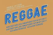 Reggae Condensed Display Font Popart Design, Alphabet, Letters And Numbers. Swatch Color Control poster