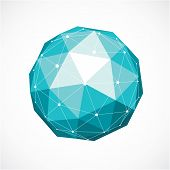 3d Vector Digital Wireframe Spherical Object Made Using Triangular Facets. Geometric Polygonal Struc poster