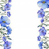 Blue Flax. Floral Botanical Flower. Frame Border Ornament Square. Aquarelle Wildflower For Backgroun poster