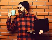 Bearded Man, Long Beard. Brutal Caucasian Shouting Unshaven Hipster Holding Laptop With Mag Or Cup I poster