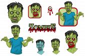 Zombies Set. Cartoon Zombie Head And Hand. Vector Graphics To Design. poster