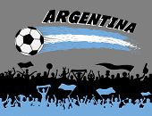 Argentina Flag Colors With Soccer Ball And Argentinian Supporters Silhouettes. All The Objects, Brus poster