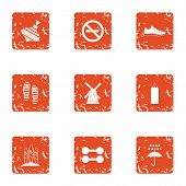 Play Outside Icons Set. Grunge Set Of 9 Play Outside Vector Icons For Web Isolated On White Backgrou poster