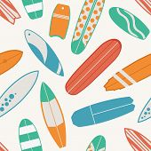 Sea Surfing Pattern With Different Type Surf Desks. Surfboard Seamless Background In Retro Colors. S poster