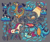 Kids Print With Fantastic Animals. Yeti, Dragon, Unicorn, Cat And Mermaid, Lochness, Ufo And Godzill poster