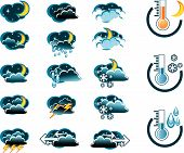 Weather Forecast Vector Icone Set Night poster