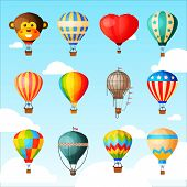 Balloon Vector Cartoon Air-balloon Or Aerostat With Basket Flying In Sky And Ballooning Adventure Fl poster