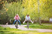 Beautiful Senior Couple With Bicycles Cycling Outside In Spring Nature, Having Fun. poster
