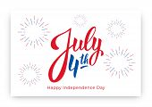 July 4th. Usa Independence Day Background Design. Banner Layout With July 4th Lettering And Firework poster