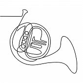 Continuous Line Drawing Of Vector Brass Wind Musical Instrument. French Horn. Single Line Icon poster