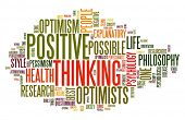 Positive thinking concept in word tag cloud isolated on white