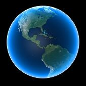 picture of planet earth  - Planet Earth featuring North Central and South America - JPG