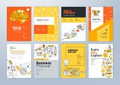 Set Of Brochure Design Templates On The Subject Of Education, School, Online Learning. Vector Illust poster