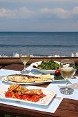 pic of summer beach  - healthy seafood for two by the sea - JPG