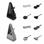 Musical Instrument Black, Monochrom Icons In Set Collection For Design. String And Wind Instrument I poster
