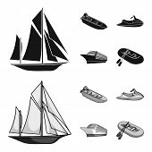 Ancient Sailboat, Motor Boat, Scooter, Marine Liner.ships And Water Transport Set Collection Icons I poster