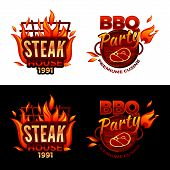 Steak House Vector Illustration For Barbecue Party Logo Or Premium Meat Cuisine Design. Vector Isola poster
