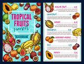 Tropical Fruits Vector Price For Cafe Or Shop. Fruits Price Or Menu Template For Fruit Store Or Mark poster