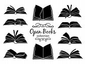 Open Books Black Silhouettes. Book Reading Icons Vector Illustration Isolated On White For Library L poster