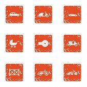 Motor Vehicles Icons Set. Grunge Set Of 9 Motor Vehicles Vector Icons For Web Isolated On White Back poster