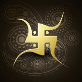 image of swastik  - vector golden swastik symbol on dark background - JPG