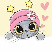 Greeting Card Cute Cartoon Cat Girl With Hearts poster