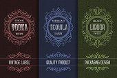 Vintage Packaging Design Set With Alcohol Drink Labels Of Vodka, Tequila, Liquor. poster