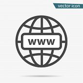 Gray Web Site Icon Isolated On Background. Modern Simple Flat Globe Sign. Business Internet Concept. poster