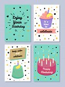 Happy Birthday, Keep Calm And Celebrate Poster, Set Of Festive Cards, Enjoy Your Birthday, It S Time poster