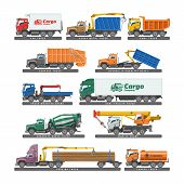 Truck Vector Delivery Vehicle Or Cargo Transportation And Trucking Transport With Trailer Illustrati poster