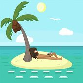 Wild Man Relaxing On Tropical Island, Funny Vector Cartoon Illustration Complete Relaxation poster