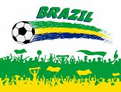 Brazil Flag Colors With Soccer Ball And Brazilian Supporters Silhouettes. All The Objects, Brush Str poster