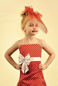 Happy Kid Having Fun. Retro Look, Hairdresser, Makeup. Retro Girl, Fashion Model, Beauty. Fashion An poster