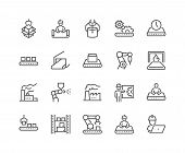 Simple Set Of Mass Production Related Vector Line Icons. Contains Such Icons As Industrial Oven, Rob poster
