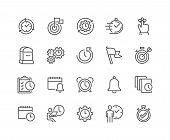 Simple Set Of Time Management Related Vector Line Icons. Contains Such Icons As Milestone, Reminder, poster