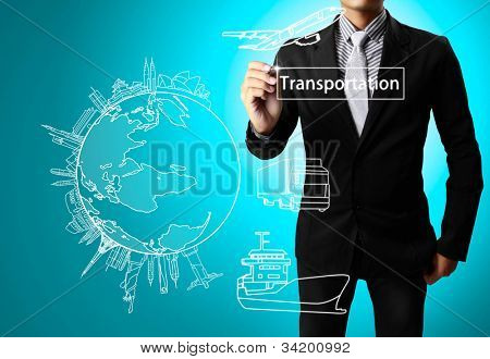 Business man drawing Transportation